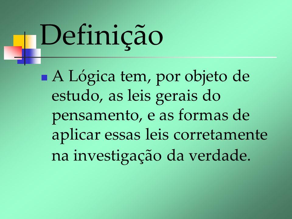 Definição A Lógica tem, por objeto de estudo, as leis gerais do pensamento, e as formas de aplicar essas leis corretamente na investigação da verdade.