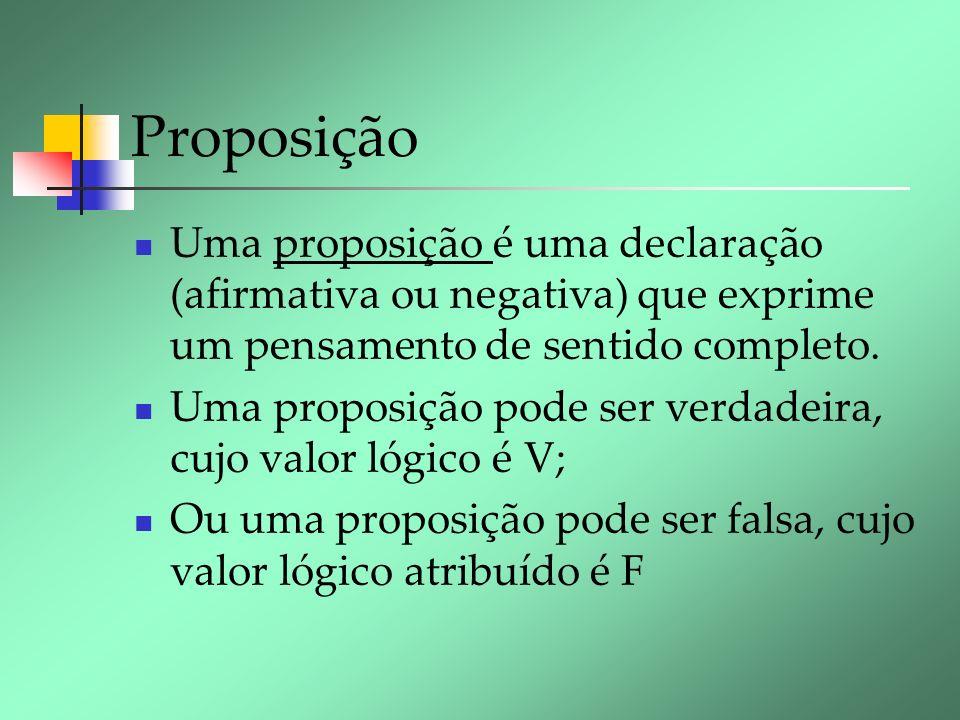 Proposição Uma proposição é uma declaração (afirmativa ou negativa) que exprime um pensamento de sentido completo. Uma proposição pode ser verdadeira,