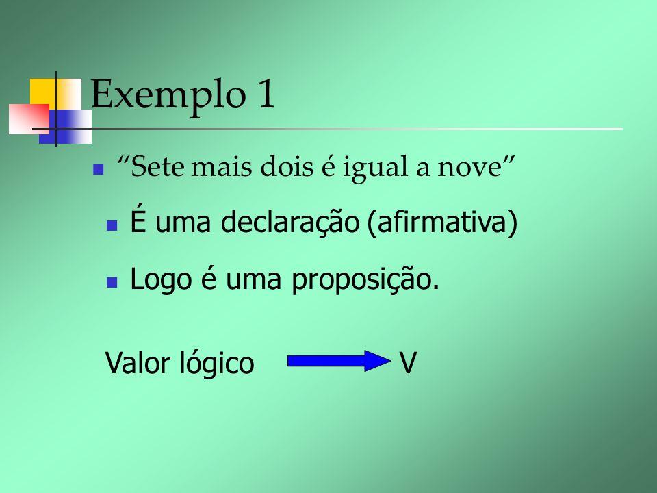 Exemplo 1 Sete mais dois é igual a nove É uma declaração (afirmativa) Logo é uma proposição. Valor lógico V