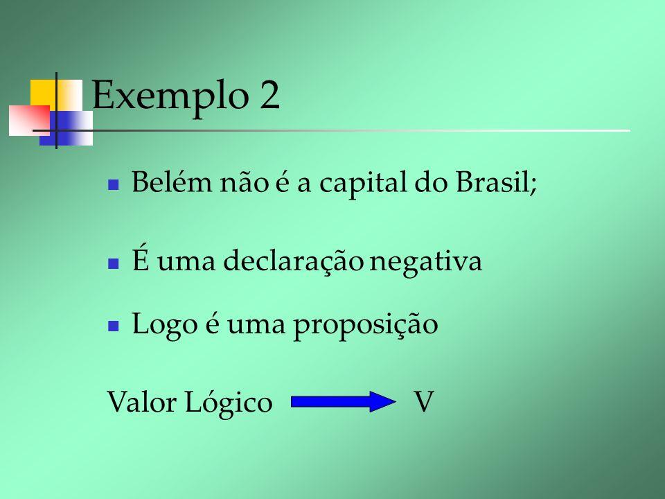 Exemplo 2 Belém não é a capital do Brasil; É uma declaração negativa Valor Lógico V Logo é uma proposição