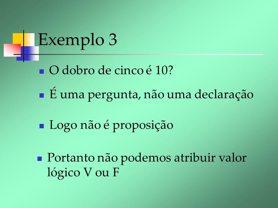 Exemplo 3 O dobro de cinco é 10? É uma pergunta, não uma declaração Logo não é proposição Portanto não podemos atribuir valor lógico V ou F