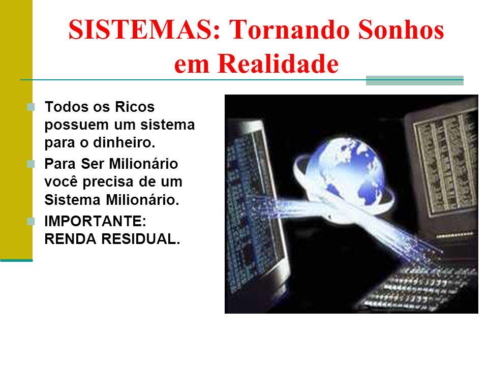 SISTEMAS: Tornando Sonhos em Realidade Todos os Ricos possuem um sistema para o dinheiro. Para Ser Milionário você precisa de um Sistema Milionário. I