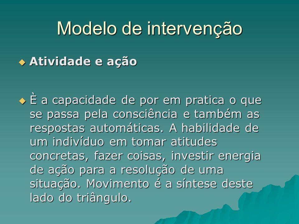 Modelo de intervenção Atividade e ação Atividade e ação È a capacidade de por em pratica o que se passa pela consciência e também as respostas automát