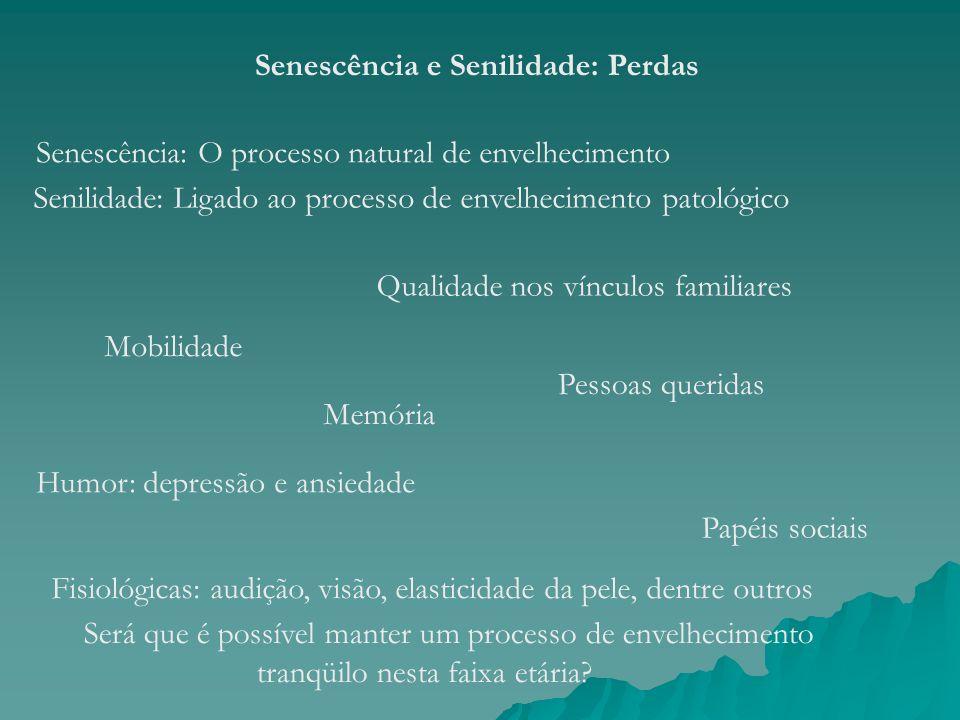 Senescência e Senilidade: Perdas Senescência: O processo natural de envelhecimento Senilidade: Ligado ao processo de envelhecimento patológico Fisioló