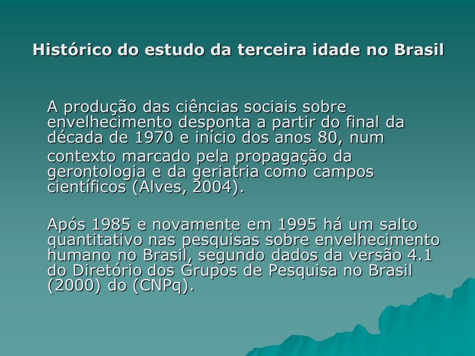 Histórico do estudo da terceira idade As Universidades de destaque são a USP, PUC-RS e a Unicamp em grupos ativos que mantêm pesquisas, seguidas pela UFGRS, UFMG e a Uerj (Prado e Sayd, 2004).