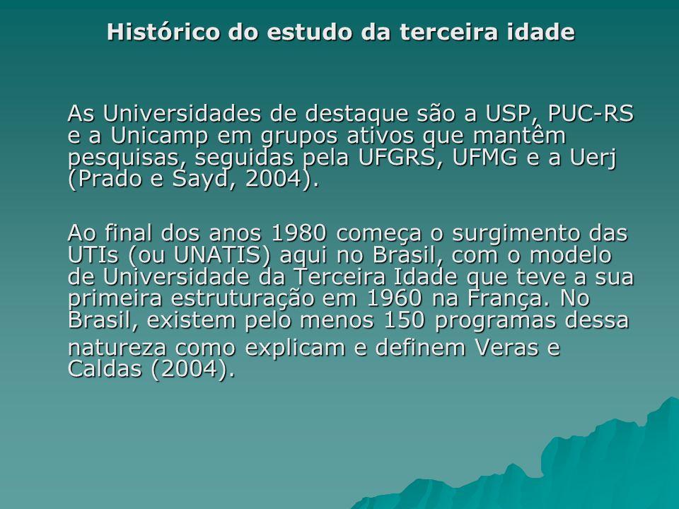 Histórico do estudo da terceira idade As Universidades de destaque são a USP, PUC-RS e a Unicamp em grupos ativos que mantêm pesquisas, seguidas pela