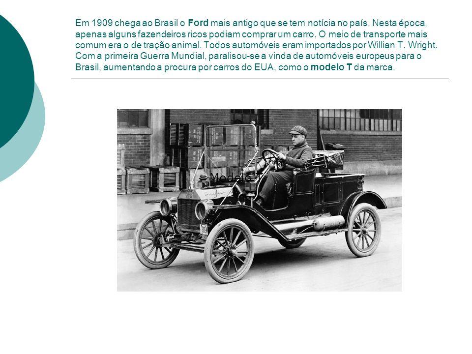 Em 1909 chega ao Brasil o Ford mais antigo que se tem notícia no país. Nesta época, apenas alguns fazendeiros ricos podiam comprar um carro. O meio de