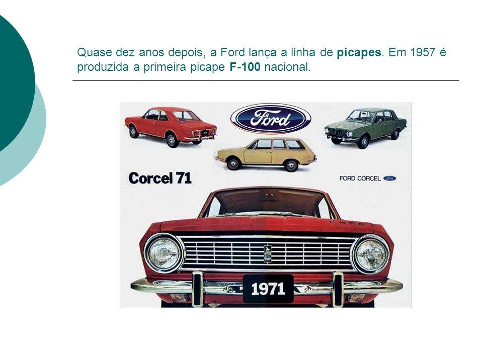 Quase dez anos depois, a Ford lança a linha de picapes. Em 1957 é produzida a primeira picape F-100 nacional.