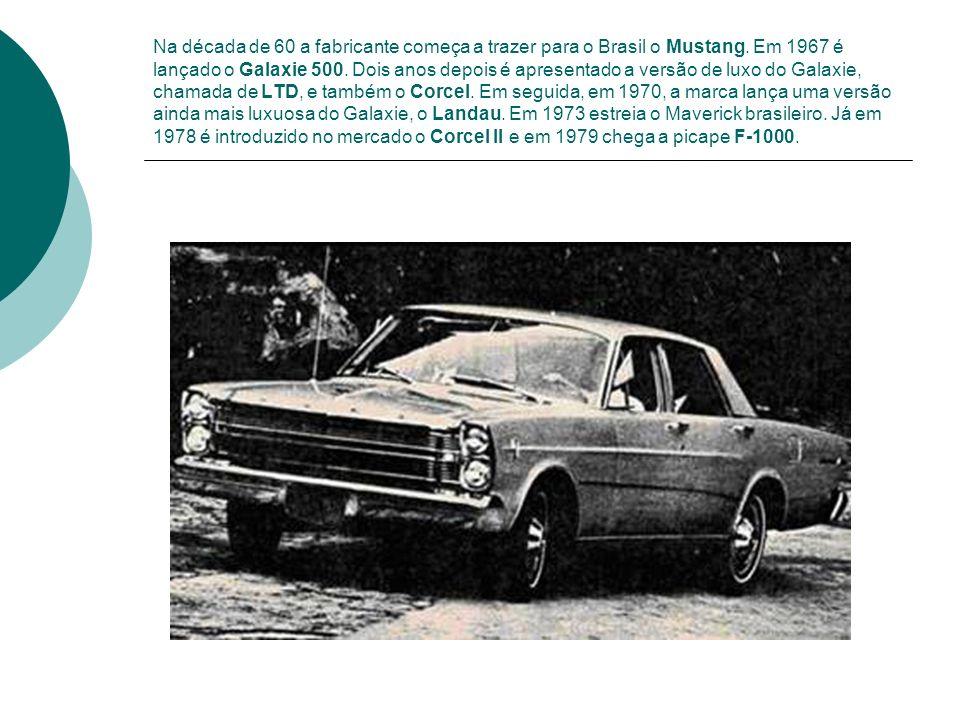 Na década de 60 a fabricante começa a trazer para o Brasil o Mustang. Em 1967 é lançado o Galaxie 500. Dois anos depois é apresentado a versão de luxo