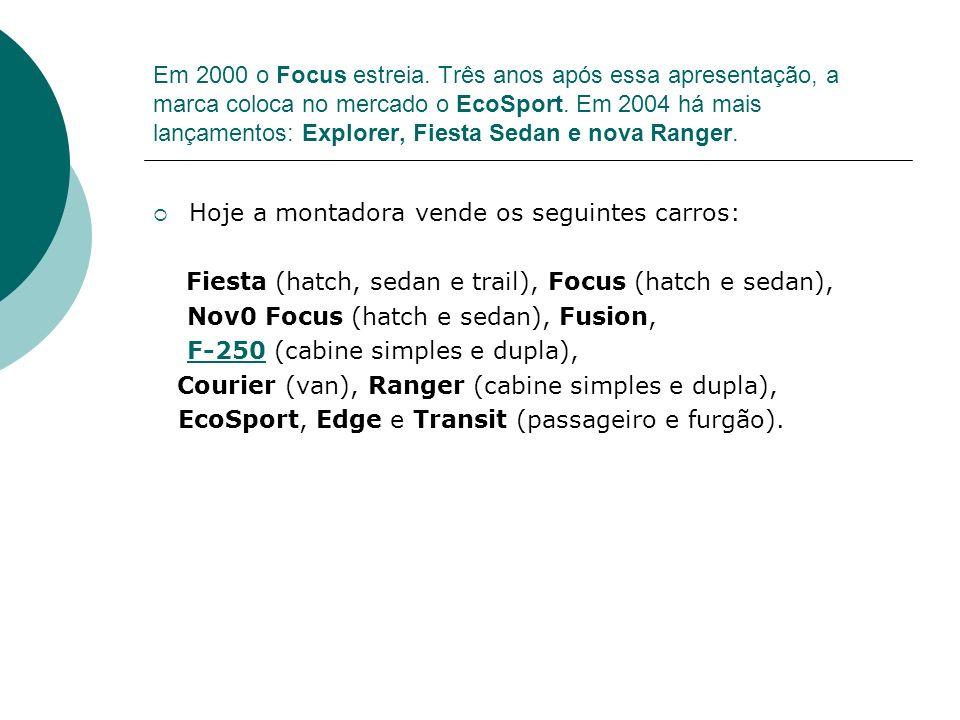 Em 2000 o Focus estreia. Três anos após essa apresentação, a marca coloca no mercado o EcoSport. Em 2004 há mais lançamentos: Explorer, Fiesta Sedan e