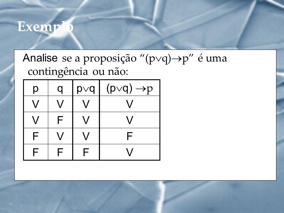 Exemplo Analise se a proposição (p q) p é uma contingência ou não: pq VV VF FV FF p q V V V F (p q) p V V F V