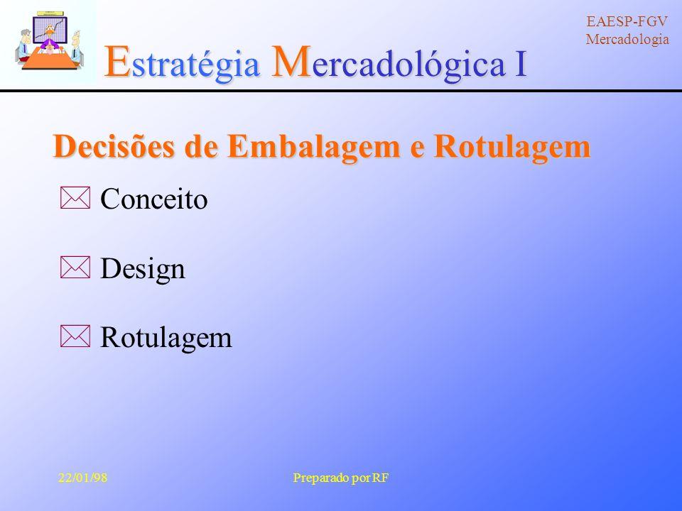 E stratégia M ercadológica I EAESP-FGV Mercadologia 22/01/98Preparado por RF Decisões de Marca â Criar marca.