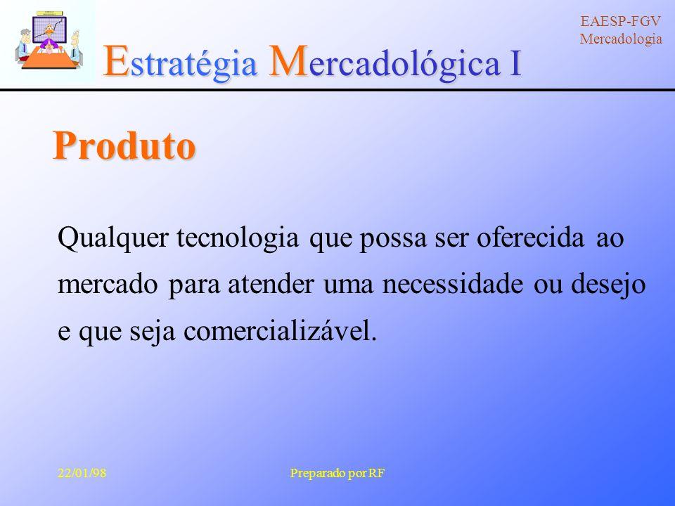 E stratégia M ercadológica I EAESP-FGV Mercadologia 22/01/98Preparado por RF Declínio 2 Identificar produtos fracos 2 Definir estratégias específicas