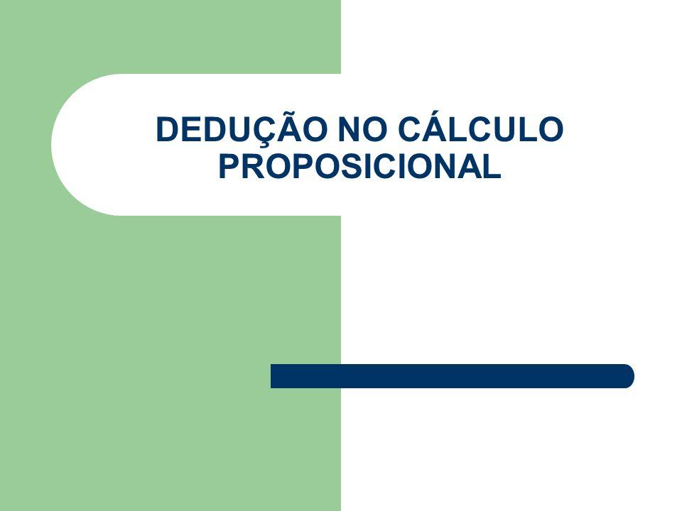 Método Dedutivo Porém antes que provamos o processo dedutivo, precisamos demonstrar as seguintes implicações: (i)c p(ii)p t Onde p é uma proposição qualquer e c e t são proposições cujos valores lógicos são F(falsidade) e V(verdade).