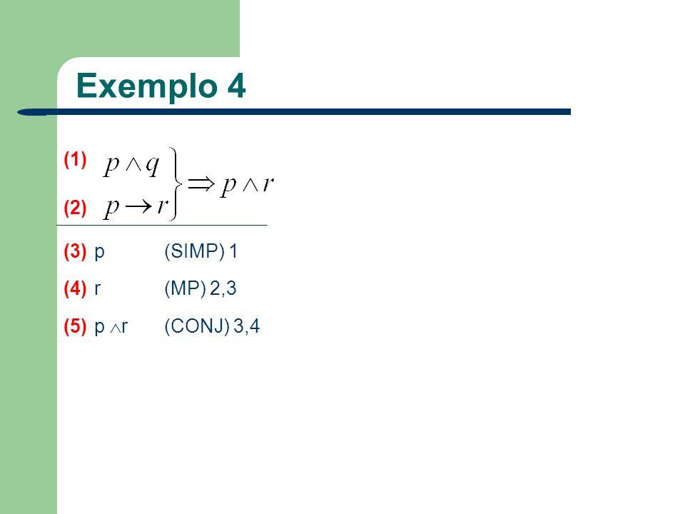Exemplo 4 (1) (2) (3) p (SIMP) 1 (4) r (MP) 2,3 (5) p r (CONJ) 3,4