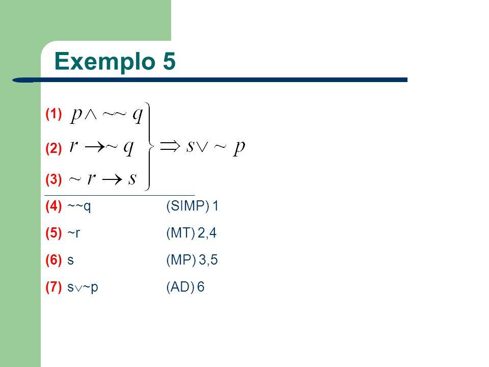 Exemplo 5 (1) (2) (3) (4) ~~q (SIMP) 1 (5) ~r (MT) 2,4 (6) s (MP) 3,5 (7) s ~p (AD) 6