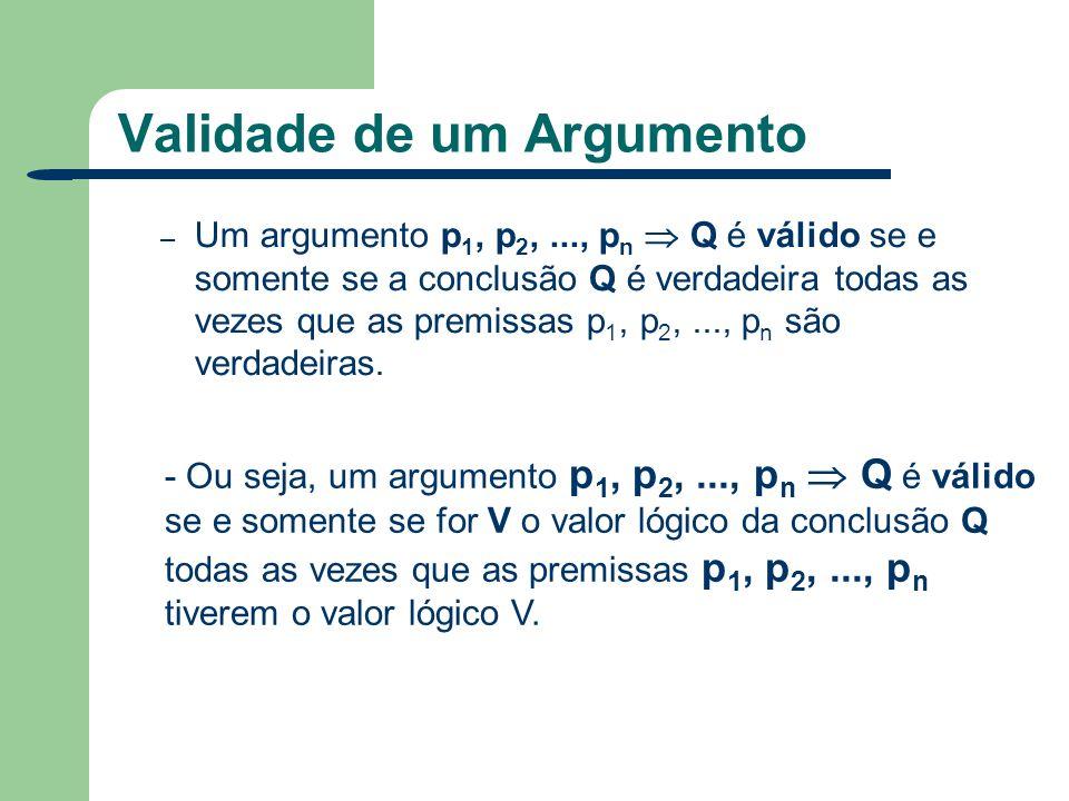 Validade de um Argumento – Um argumento p 1, p 2,..., p n Q é válido se e somente se a conclusão Q é verdadeira todas as vezes que as premissas p 1, p