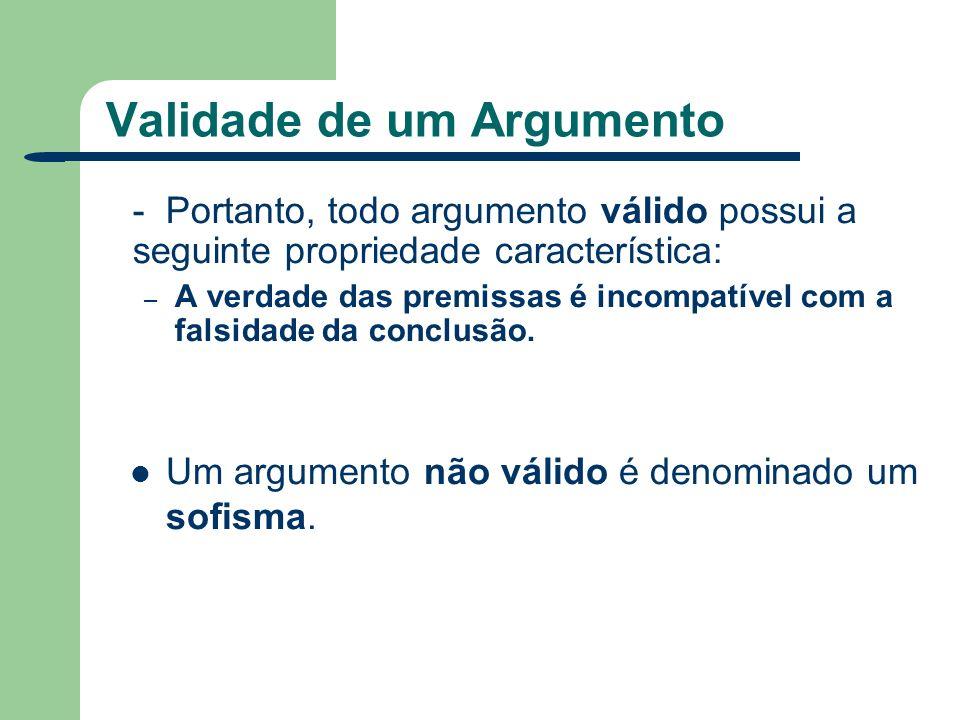 Validade de um Argumento Assim, todo argumento possui valor lógico V se for válido (correto, legítimo) ou F se for um sofisma (incorreto, ilegítimo).