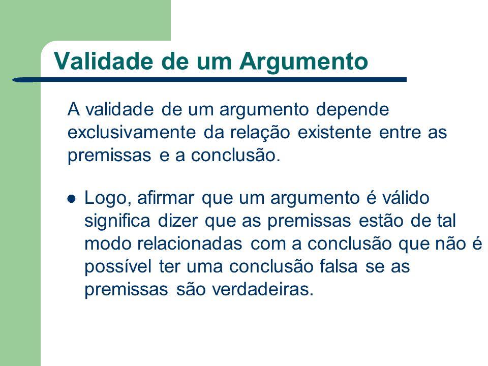 Validade de um Argumento A validade de um argumento depende exclusivamente da relação existente entre as premissas e a conclusão. Logo, afirmar que um