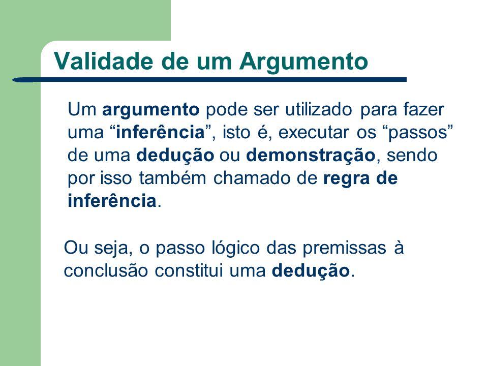 Validade de um Argumento Um argumento pode ser utilizado para fazer uma inferência, isto é, executar os passos de uma dedução ou demonstração, sendo p