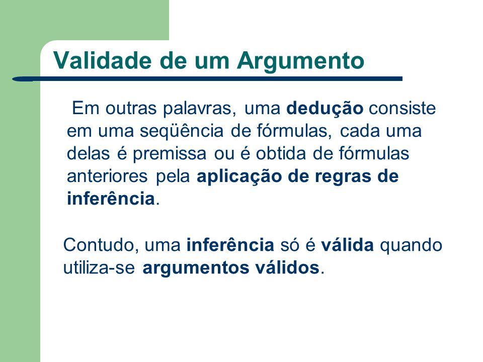 Validade de um Argumento Em outras palavras, uma dedução consiste em uma seqüência de fórmulas, cada uma delas é premissa ou é obtida de fórmulas ante