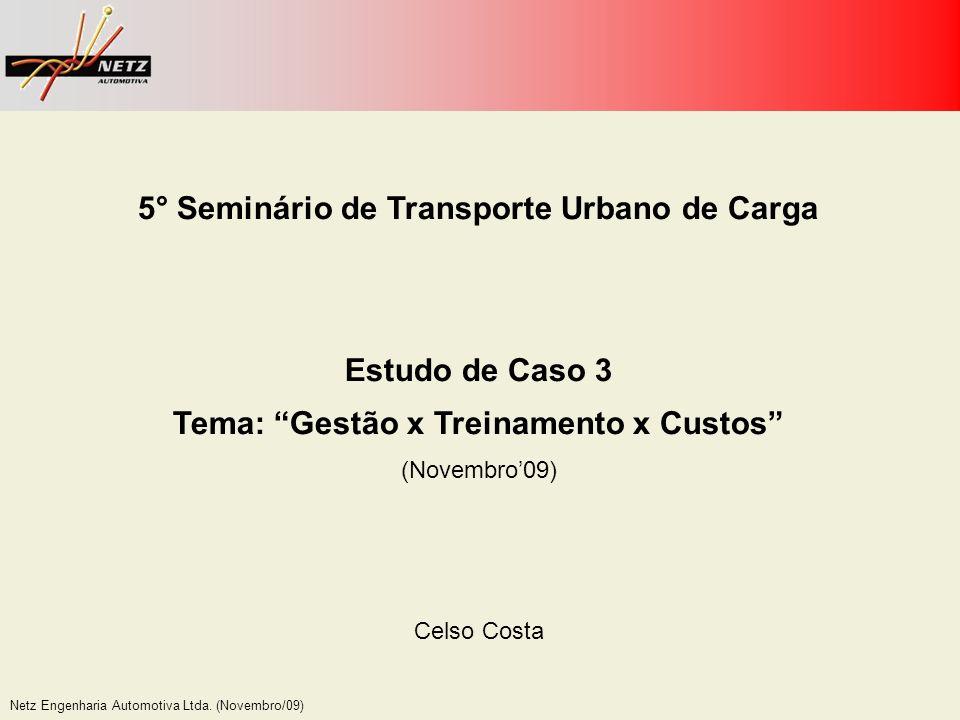 Netz Engenharia Automotiva Ltda. (Novembro/09) 5° Seminário de Transporte Urbano de Carga Estudo de Caso 3 Tema: Gestão x Treinamento x Custos (Novemb