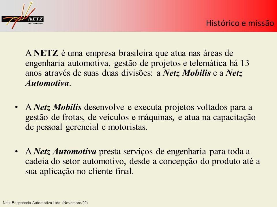 Netz Engenharia Automotiva Ltda. (Novembro/09) Histórico e missão A NETZ é uma empresa brasileira que atua nas áreas de engenharia automotiva, gestão