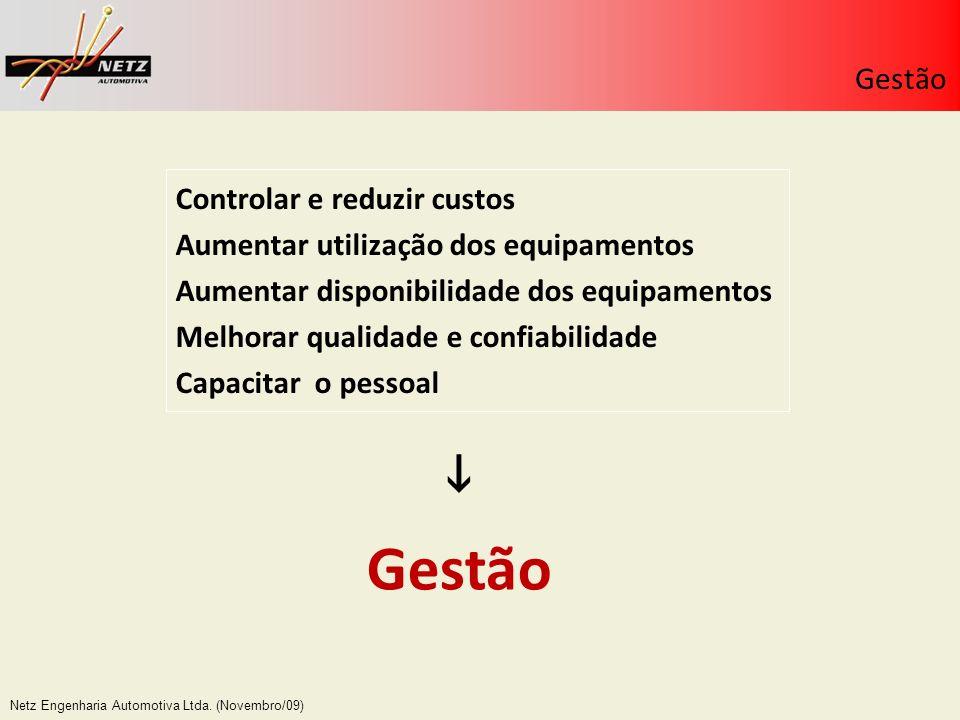 Netz Engenharia Automotiva Ltda. (Novembro/09) Controlar e reduzir custos Aumentar utilização dos equipamentos Aumentar disponibilidade dos equipament