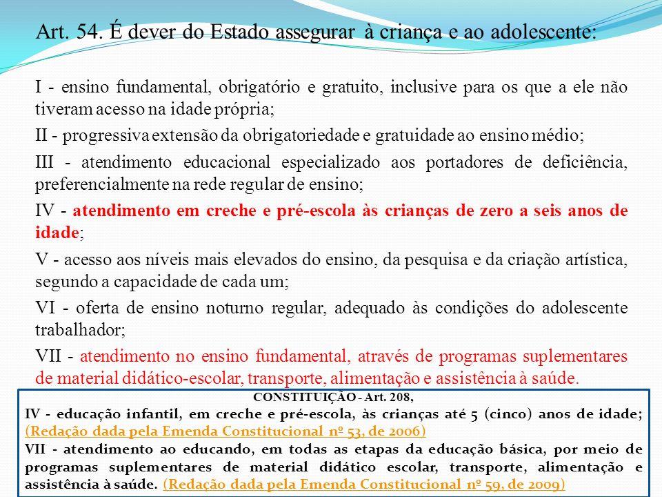 Art. 54. É dever do Estado assegurar à criança e ao adolescente: I - ensino fundamental, obrigatório e gratuito, inclusive para os que a ele não tiver