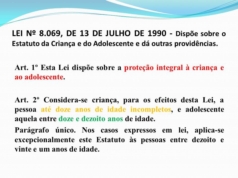 LEI Nº 8.069, DE 13 DE JULHO DE 1990 - Dispõe sobre o Estatuto da Criança e do Adolescente e dá outras providências. Art. 1º Esta Lei dispõe sobre a p