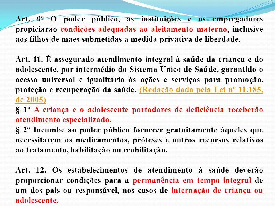Art. 9º O poder público, as instituições e os empregadores propiciarão condições adequadas ao aleitamento materno, inclusive aos filhos de mães submet