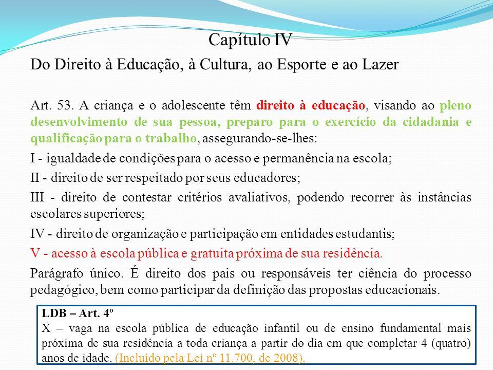 Capítulo IV Do Direito à Educação, à Cultura, ao Esporte e ao Lazer Art. 53. A criança e o adolescente têm direito à educação, visando ao pleno desenv
