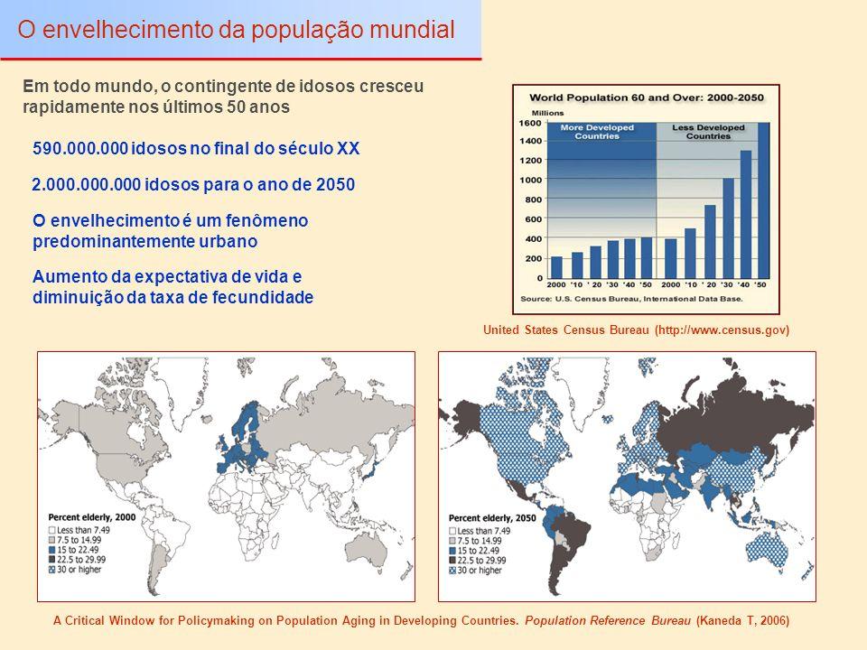 Aposentadoria constitui a parcela principal de renda familiar Perfil da população idosa brasileira O envelhecimento da população brasileira As mulheres são maioria Cerca de 62,4% dos idosos são responsáveis pelos domicílios A maioria dos idosos vivem em áreas urbanas O Rio de Janeiro é a capital com maior proporção de idosos (12,8%) Censo Demográfico de 2000 (Instituto Brasileiro de Geografia e Estatística – IBGE) A população de idosos representa quase 15.000.000 de pessoas (8,6% da população brasileira)