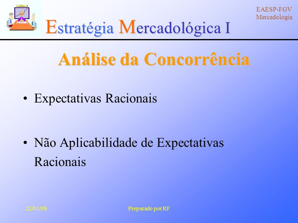 E stratégia M ercadológica I EAESP-FGV Mercadologia 22/01/98Preparado por RF Análise da Concorrência Prevendo as ações da concorrência Requer: a) modelo de análise da comportamental da concorrência; b) foco em como a concorrência se vê.