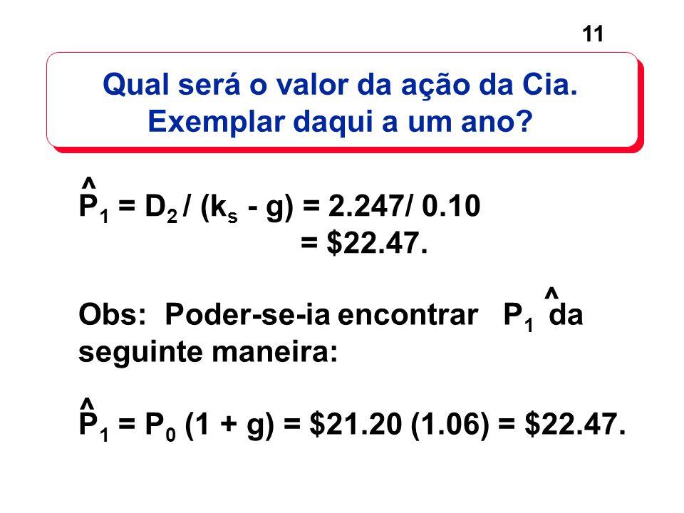 11 P 1 = D 2 / (k s - g) = 2.247/ 0.10 = $22.47. ^ Qual será o valor da ação da Cia. Exemplar daqui a um ano? Obs: Poder-se-ia encontrar P 1 da seguin