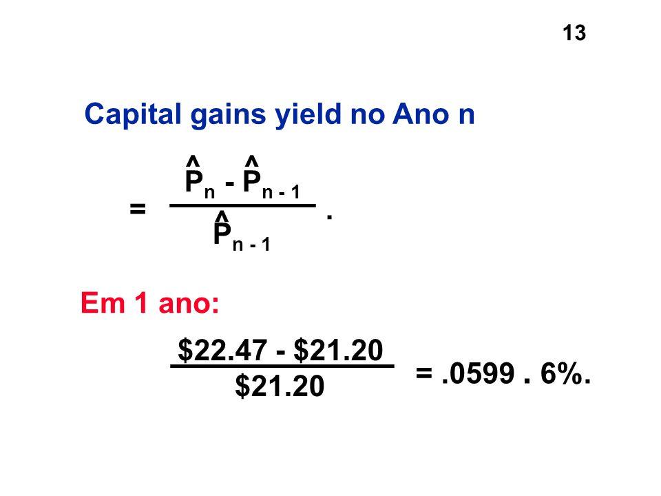 13 =.0599. 6%. P n - P n - 1 P n - 1 ^ =. ^ ^ Em 1 ano: $22.47 - $21.20 $21.20 Capital gains yield no Ano n