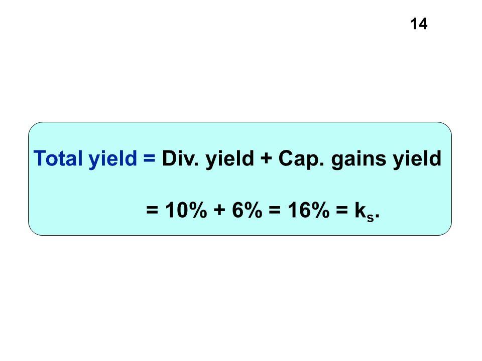 14 = 10% + 6% = 16% = k s. Total yield = Div. yield + Cap. gains yield