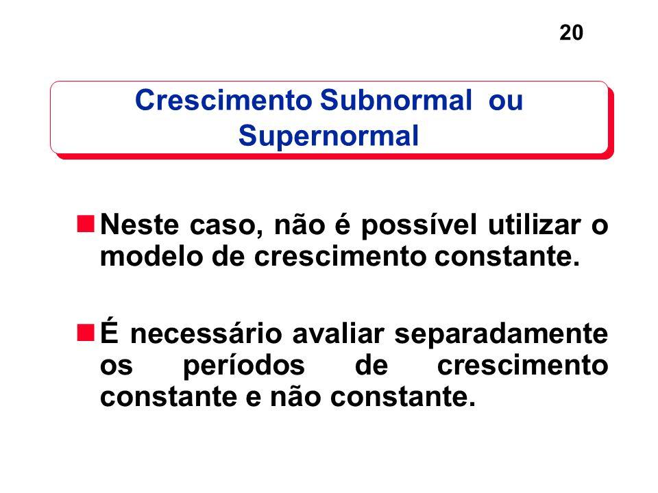 20 Crescimento Subnormal ou Supernormal Neste caso, não é possível utilizar o modelo de crescimento constante. É necessário avaliar separadamente os p