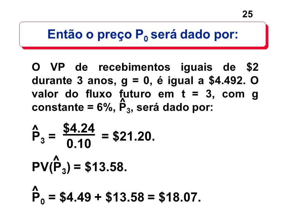 25 ^ P 3 = = $21.20. PV(P 3 ) = $13.58. P 0 = $4.49 + $13.58 = $18.07. $4.24 0.10 ^ ^ Então o preço P 0 será dado por: O VP de recebimentos iguais de