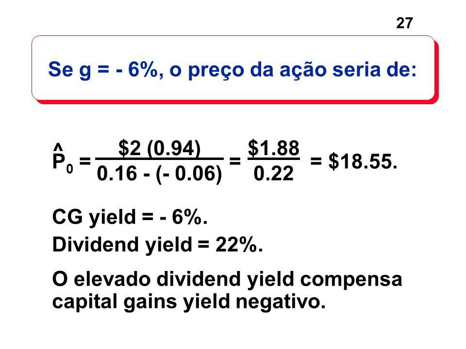 27 CG yield = - 6%.Dividend yield = 22%.