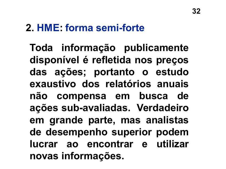 32 2. HME: forma semi-forte Toda informação publicamente disponível é refletida nos preços das ações; portanto o estudo exaustivo dos relatórios anuai