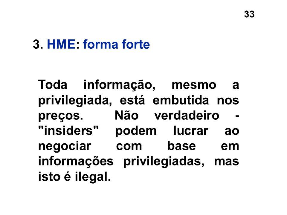 33 3. HME: forma forte Toda informação, mesmo a privilegiada, está embutida nos preços. Não verdadeiro -