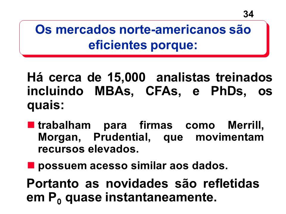 34 Os mercados norte-americanos são eficientes porque: trabalham para firmas como Merrill, Morgan, Prudential, que movimentam recursos elevados. possu