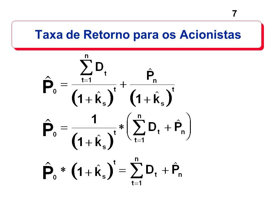 18 Para ações com crescimento constante: O dividend yield é constante, D 1 / P 0 = D 2 / P 1 = D 3 / P 2.