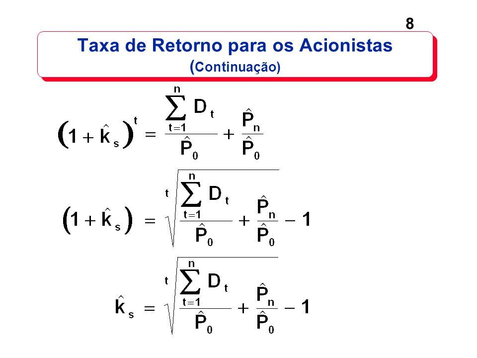 9 Se a taxa de crescimento dos dividendos g é constante, então: ^ O modelo requer: k s > g (do contrário ter-se-á um preço negativo).