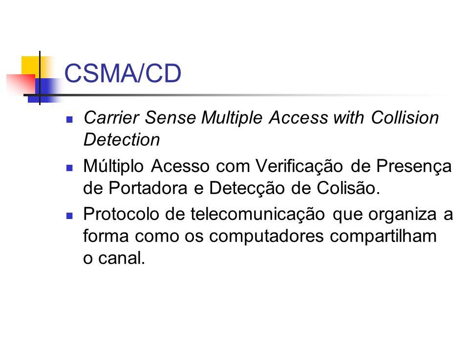 CSMA/CD Carrier Sense Multiple Access with Collision Detection Múltiplo Acesso com Verificação de Presença de Portadora e Detecção de Colisão.