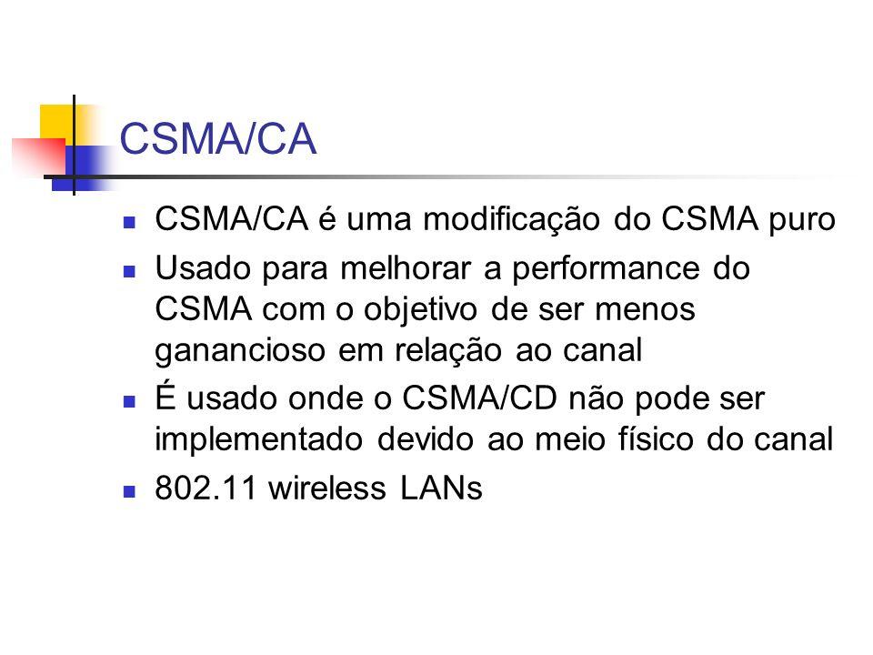 CSMA/CA CSMA/CA é uma modificação do CSMA puro Usado para melhorar a performance do CSMA com o objetivo de ser menos ganancioso em relação ao canal É usado onde o CSMA/CD não pode ser implementado devido ao meio físico do canal 802.11 wireless LANs