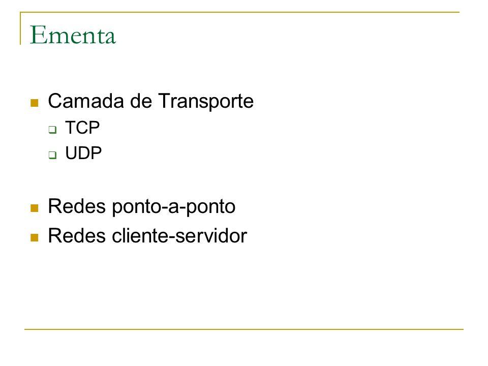 Ementa Camada de Transporte TCP UDP Redes ponto-a-ponto Redes cliente-servidor