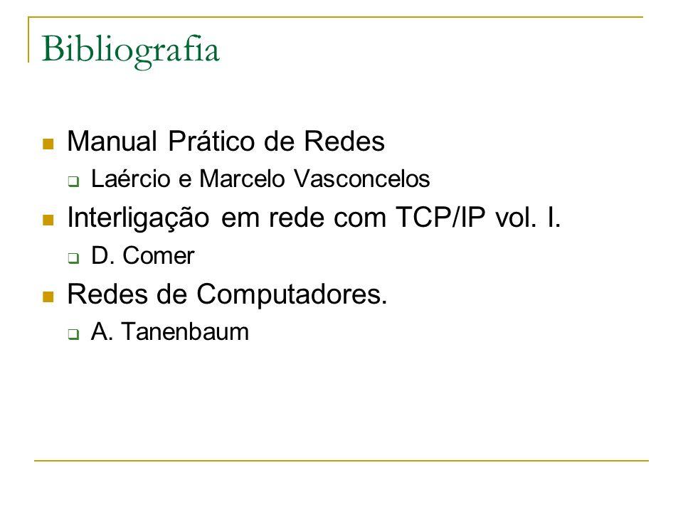 Bibliografia Manual Prático de Redes Laércio e Marcelo Vasconcelos Interligação em rede com TCP/IP vol. I. D. Comer Redes de Computadores. A. Tanenbau