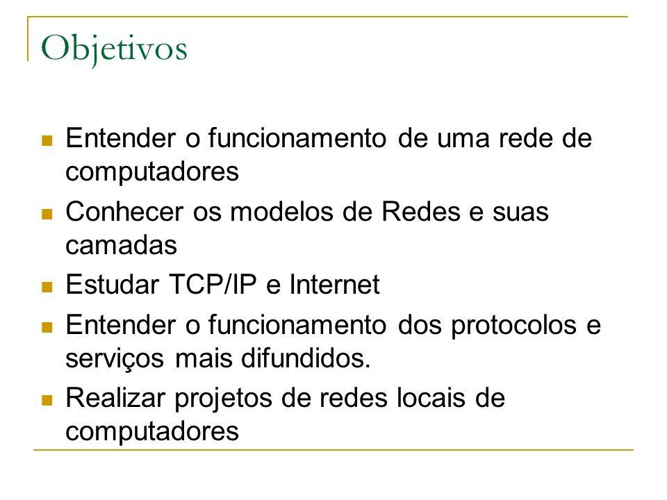 Objetivos Entender o funcionamento de uma rede de computadores Conhecer os modelos de Redes e suas camadas Estudar TCP/IP e Internet Entender o funcio